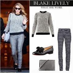 Blake Lively in houndstooth print pants with black and white knit sweater by Isabel Marant with black patent leather bow embellished shoes #blakelively #wantherstyle #fall #winter #outfit