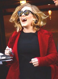 Adele from The Big Picture: Today's Hot Pics  Someone's having a good day! Could it be because her latest album, 25, is selling like hotcakes?