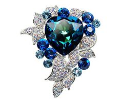 Q R Woman Blue Crystal Flower Corsage Suit Brooch Pin with Austrian Crystal      Be 6aead46b56d9