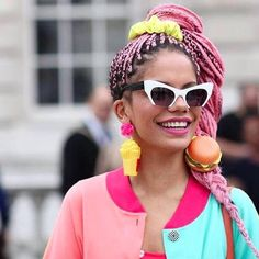 """ebonyzerscrooge: """"rosemhelores: """"Miss Magá Moura appreciation post!! Iam obsessed with this girl. These pink braids are giving me life and not to mention the earrings and the sunnies """" THE BARBIE..."""