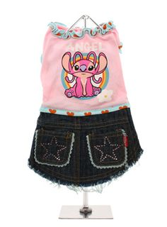 Angel Pink Denim Dress for Yorkie Girls