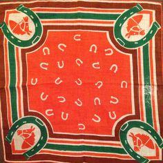 Retro Pattern, Pattern Design, Vintage Bandana, Bandana Design, Lucky Horseshoe, Vintage Handkerchiefs, Art N Craft, Bandana Print, Stencil Art