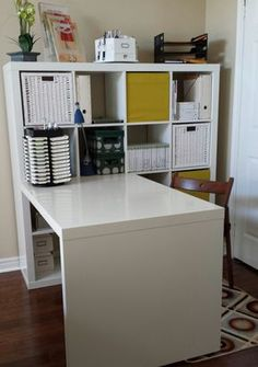 This Creative Space, craft room, Ikea Expedit deck and shelving unit. I love it. This is where the creative juices start to flow.