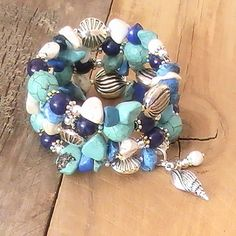 Blue, Turquoise, and Silver Memory Wire Wrap Bracelet with Shell Charm