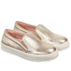 Unisa Girls Metallic Gold Leather Slip-On Trainers at Childrensalon.com