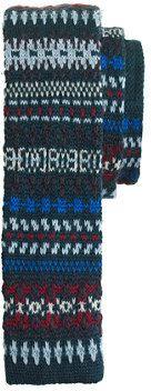 Boys' wool knit tie in forest Fair Isle