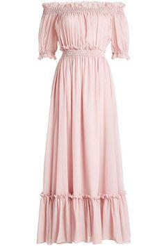 Off-Shoulder Dress in Cotton and Silk | Alexander McQueen