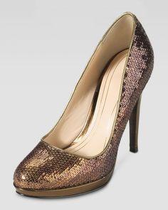 Cole Haan Chelsea Sequined High-Heel Pump, Bronze - Neiman Marcus