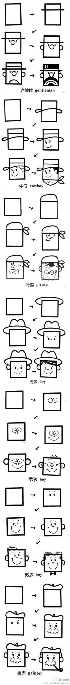 How to draw square faces.