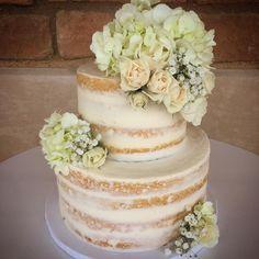 2 tier naked wedding cake with fresh hydrangeas @flourshoptx