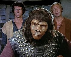 Major Peter J. Burke (James Naughton), Colonel Alan Virdon (Ron Harper) and Chief of Security Urko (Mark Lenard) - Planet of the Apes: The TV Series