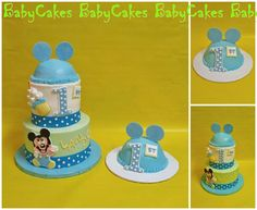 Baby Mickey Mouse themed 1st birthday cake with coordinating smash cake.