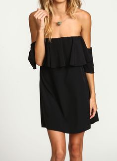 Black Boat Neck Ruffle Loose Dress - abaday.com
