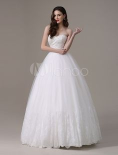 Ivory Floor-Length Sweetheart Lace-up Beaded Strapless A-Line Wedding Dress