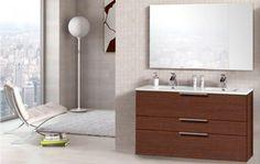 495€ Conjunto mueble de baño con espejo y lavabo en fresno o color café. #conjunto #baño  Deskontalia Productos - Descuentos del 70%