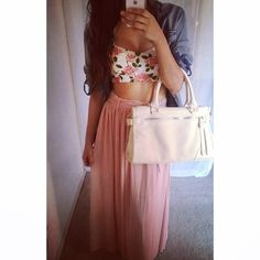 summer style, floral crop top with maxi skirt and jean jacket