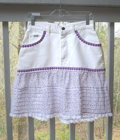 Lavender and Lace White Denim Jean Skirt Size 10 by FairfaxDavis