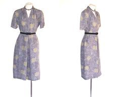 40s to 50s Dress Vintage Rayon Sheath Gray Paisley M Free Domestic and Discounted International Shipping