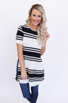 39b7c5f43d3e3 Black Ivory Multi Stripe Side Slit Tunic - Dottie Couture Boutique