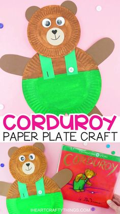 Fun and easy paper plate corduroy craft for preschoolers Grab our free template printable to make this cute book-inspired Corduroy preschool craft iheartcraftythings Paper Plate Crafts For Kids, Fun Crafts For Kids, Summer Crafts, Toddler Crafts, Art For Kids, Arts And Crafts, Diy Crafts, Kids Diy, Crafts For Preschoolers