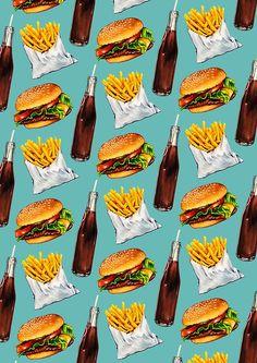 «Burger Fries & Soda Pattern» de Kelly Gilleran