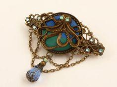 Steampunk Haarspange mit Krake in türkis blau von Schmucktruhe