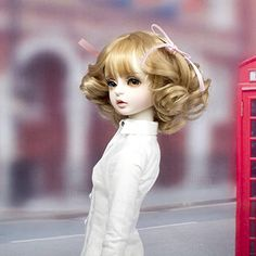 Amazon.com: MUZI WIG SD/BJD Doll Wig Hair with Bang Long Roman Curly High Temperature Fiber Tan Color Wigs for 1/3 BJD Dolls Doll Wigs, Bjd Dolls, Doll Head, Curlers, Diy Doll, Hairstyles With Bangs, Gifts For Girls, Looks Great, Flower Girl Dresses