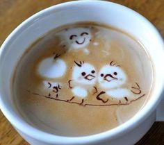 .·:*¨¨*:·. Coffee ♥ Art .·:*¨¨*:·.  Birds latte