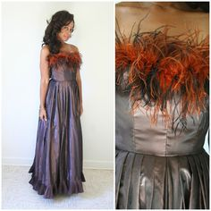 vintage 70s VICTOR COSTA iridescent taffeta OSTRICH feather gown size XS/S by PasseNouveauVintage, $165.00