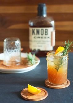fall cocktail: bourbon apple cider. great for an outside party, serve in small jelly mason jars.
