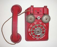 vintage toy red telephone