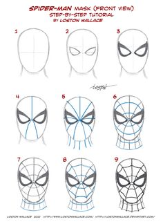 Spider-man's Mask Tutorial by *LostonWallace on deviantART (Baking Face Tutorial)Spider-man's Mask Tutorial by *LostonWallace on deviantART - Visit to grab an amazing super hero shirt now on sale!Most of you true believers already know how to draw the mas Spiderman Face, Spiderman Drawing, How To Draw Spiderman, How To Draw Avengers, Face Painting Spiderman, How To Draw Comics, Spider Man Face Paint, Marvel Drawings, Drawing Superheroes