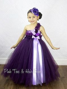 Flower girl dress-Plum Flower girl dress-plum flower girl dress-flower girl dress- Plum and Purple Couture Flower Girl Dress