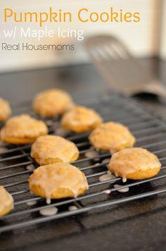 Pumpkin Cookies with Maple Icing | Real Housemoms | #pumpkin #cookies #Maple