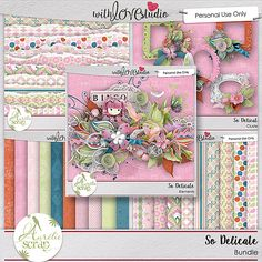 So Delicate digital scrapbooking border by Aurelie Scrap. The SO delicate kit is full of girly colors and is perfect to document everyday moments of your little princess or your everyday life. The paste colors of the kit will give a soft and feminine look to your layouts.