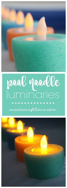 These Pool Noodle Luminaries look awesome on a warm summer night! (Dollar Store Camping Hacks)