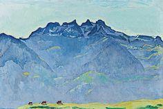 "Ferdinand Hodler, ""Die Dents du Midi von Champéry,"" 1916, oil on canvas at Fondation Beyeler | On ArtPrivée: http://www.artprivee.org/private-museums-and-foundations/europe/switzerland/riehen/fondation-beyeler/?utm_source=pinterest_medium=exhibitions_campaign=fondationbeyeler"