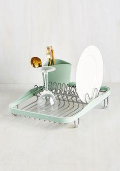 Wash-And-Ware Dish Rack - Mint, Silver, Solid, Minimal, Vintage Inspired, Dorm Decor, Pastel, Spring, Summer, Winter, Best Seller, Best Seller