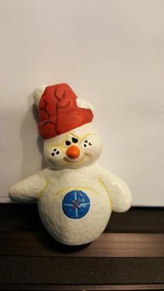 Snowman with ceramic pot hat