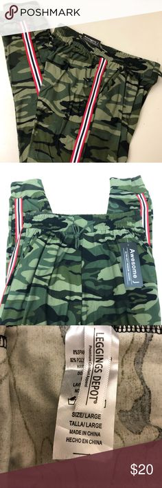 7de1c3fbf Camo jogger pants Soft jogger pants 2 front pockets Camouflage with  red/black/white stripe on side leg Stretchable waistband with drawstring  Leggings Depot ...