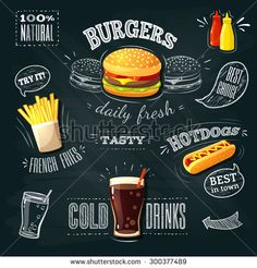 Chalkboard fastfood ADs - hamburger, french fries and hotdog. Vector illustration, eps 10.