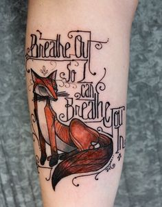 #color #fox & #typography #forearm #tattoo