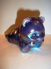 RARE Fenton Glass PLUM OPALESCENT CARNIVAL Daydreaming BEAR FAGCA Special Room