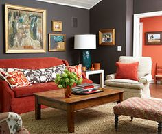 1000 images about living and dining room ideas on for Orange and grey dining room