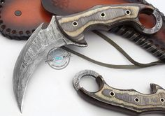 Custom Made Beautiful Damascus Double Edge Full Tang Karambit Knife (AA-0148-24) in Collectibles, Knives, Swords & Blades, Fixed Blade Knives   eBay