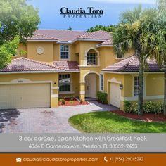 New Listing!! 4064 E Gardenia Av. Weston FL 33332. Spectacular home 5 bedrooms, 3 full bathroom, 3 car garage, water view and pool with 3,377 Sq f. Built in 2005.  Priced to sell $659,900 Call Claudia Toro  Contact us : +19542905292  #weston #plantation#miramar#sunrise#aventura #southwestranches #pembrokepines#florida #miami #realtor