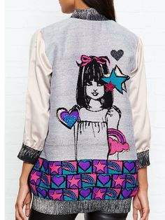 ANNA SUI ALL YOU NEED IS LOVE JACQUARD BOMBER JACKET...