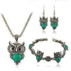 Vintage Green Owl Jewelry Set For Women Jewelry Sets Owl Necklace Earring Bracelet Set #Affiliate