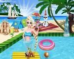 Em Elsa Fashion na Praia, Elsa está de férias e viajou para uma linda praia. Hoje é seu primeiro dia na praia e ela quer estar maravilhosa para curtir o sol. Elsa precisa de sua ajuda para encontrar o look perfeito e depois para criar o cenário de praia fabuloso. Divirta-se com Elsa!