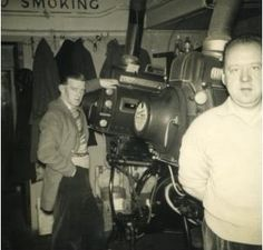 The Strand Cinema, Alexandria, Scotland: Frank and George Part-time projectionists, with Kalee 12's and Peerless arc lamps.